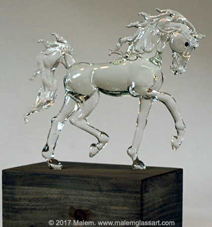 Trotting Arabian - Glass Horse Sculpture