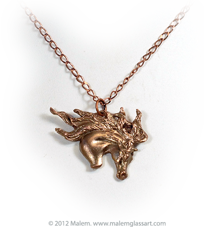 Copper Iberan Horse Windson necklace Small