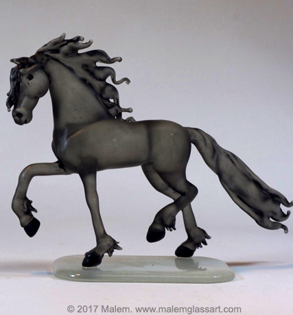Trotting Friesian - Glass Horse Sculpture