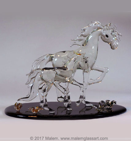 Mare and foal Horse Sculpture